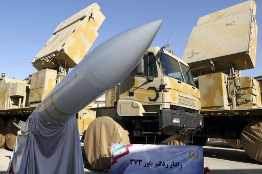 In this photo released by the official website of the office of the Iranian Presidency, Iran-made Bavar-373 air-defense missile system is seen after being unveiled by President Hassan Rouhani, Iran, Thursday, Aug 22, 2019 - Iranian Presidency Office via AP