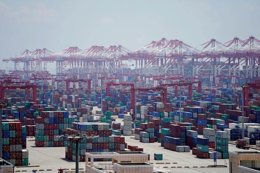 Containers are seen at the Yangshan Deep Water Port in Shanghai, China, August 6, 2019. Reuters/Files
