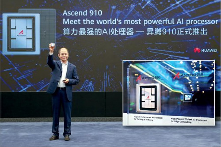 Eric Xu Zhijun, Huawei's rotating chairman, announces the release of the Ascend 910 AI processor and MindSpore AI computing framework on Friday. - Huawei photo
