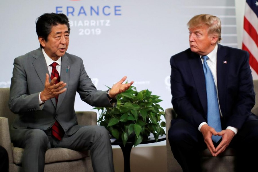 US President Donald Trump and Japan's Prime Minister Shinzo Abe hold a bilateral meeting during the G7 summit in Biarritz, France, August 25, 2019. Reuters/Files