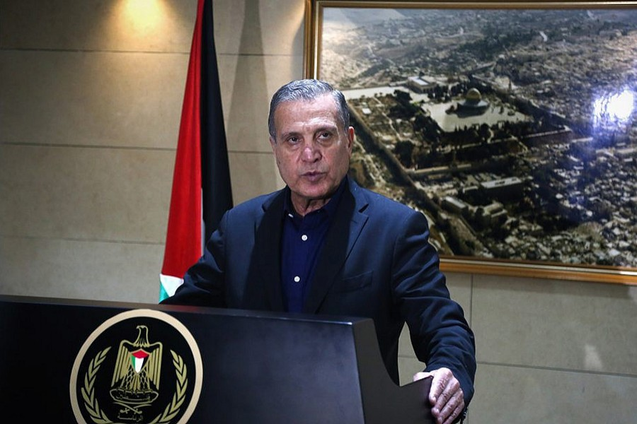 Nabil Abu Rudeineh, spokesman of Palestinian President Mahmoud Abbas, speaks at a press conference in the West Bank city of Ramallah on December 5, 2017 — Collected