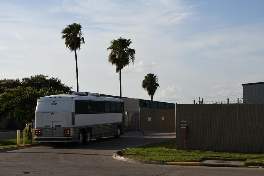 """A migrant transport bus pulls into the US Border Patrol Central Processing Center known as """"Ursula"""" in McAllen, Texas, US on June 27, 2019 — Reuters photo"""
