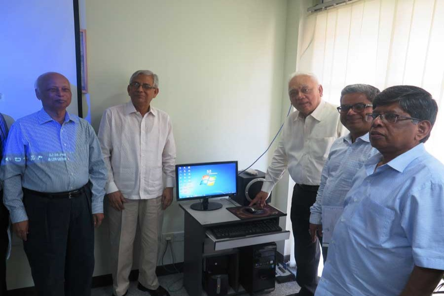 Syed Manzur Elahi, chairperson of the Board of Trustees of East West University, inaugurating the new website of the leading private university  in the city Thursday