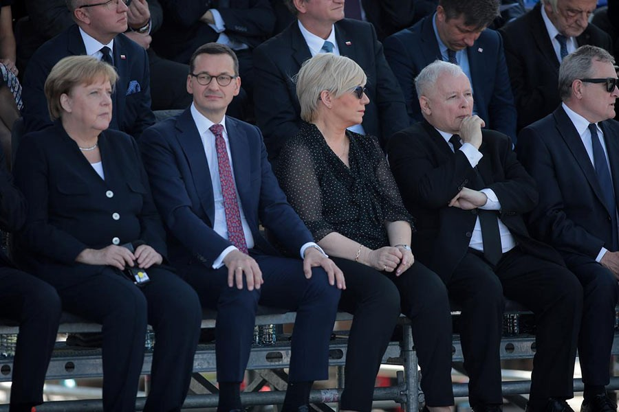 Germany's Chancellor Angela Merkel, Poland's Prime Minister Mateusz Morawiecki, head of the Constitution Tribunal Julia Przylebska and Law and Justice (PiS) leader Jaroslaw Kaczynski attending a commemorative ceremony to mark the 80th anniversary of the outbreak of World War Two in Warsaw of Poland on Sunday. -Reuters Photo