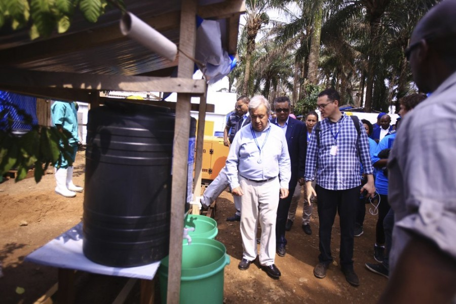 United Nations Secretary-General Antonio Guterres visits an Ebola center in Beni, eastern Congo Sunday, Sept. 1, 2019. Guterres is starting a three-day visit to Congo to see the work of UN peacekeepers, work on disarmament and reintegration of ex-combatants, and efforts to stop the spread of the Ebola virus. (AP Photo/Al-hadji Kudra Maliro)