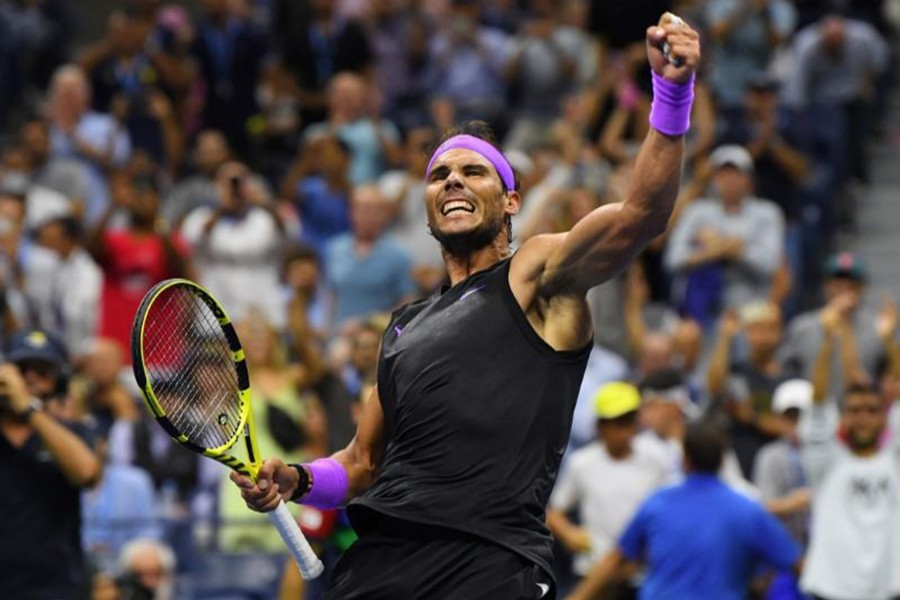 Rafael Nadal of Spain celebrates match point against Marin Cilic of Croatia in the fourth round on day eight of the 2019 US Open tennis tournament at USTA Billie Jean King National Tennis Center — Robert Deutsch-USA TODAY Sports via REUTERS
