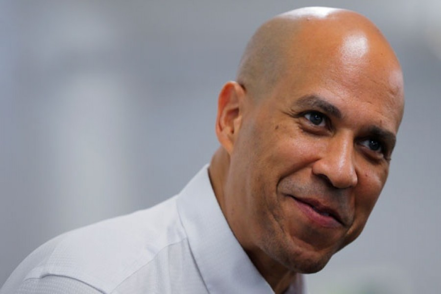 Democratic 2020 US presidential candidate and US Senator Cory Booker (D-NJ) speaks before campaigning door-to-door in Manchester, New Hampshire US in this file photo. REUTERS