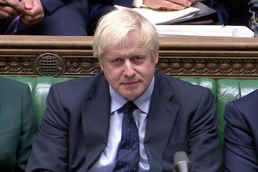 Britain's Prime Minister Boris Johnson speaks in Parliament in London, Britain on September 3, 2019 in this screen grab taken from video — Parliament TV via Reuters
