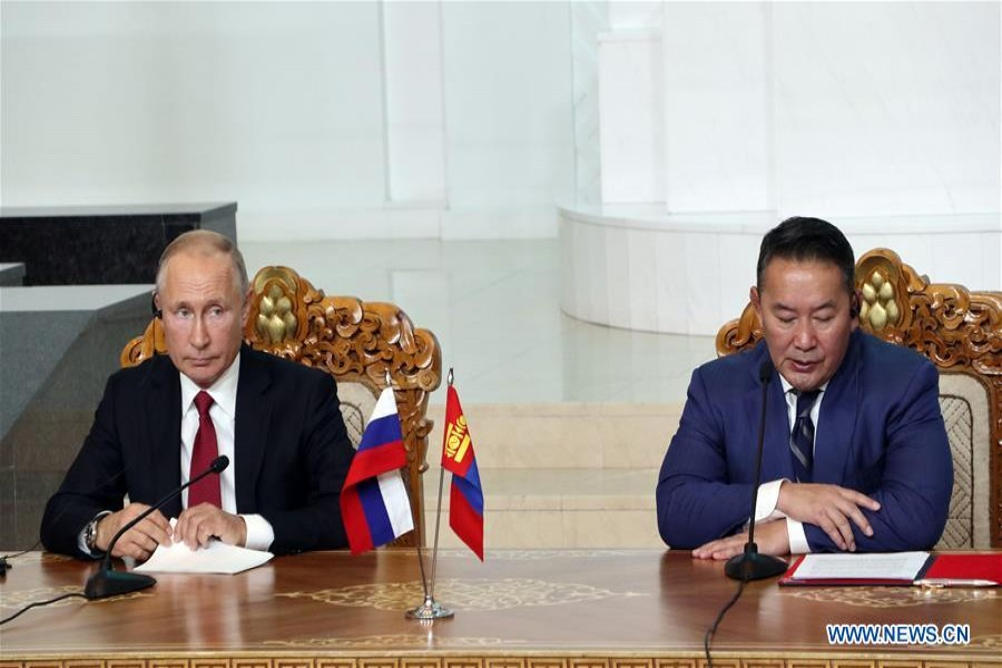 Russian President Vladimir Putin (L) and Mongolian President Khaltmaa Battulga attend a press conference in Ulan Bator, Mongolia, Sept. 3, 2019. Mongolia and Russia on Tuesday signed a permanent treaty on friendly relations and lifted bilateral ties to a comprehensive strategic partnership. (Xinhua/Asigang)