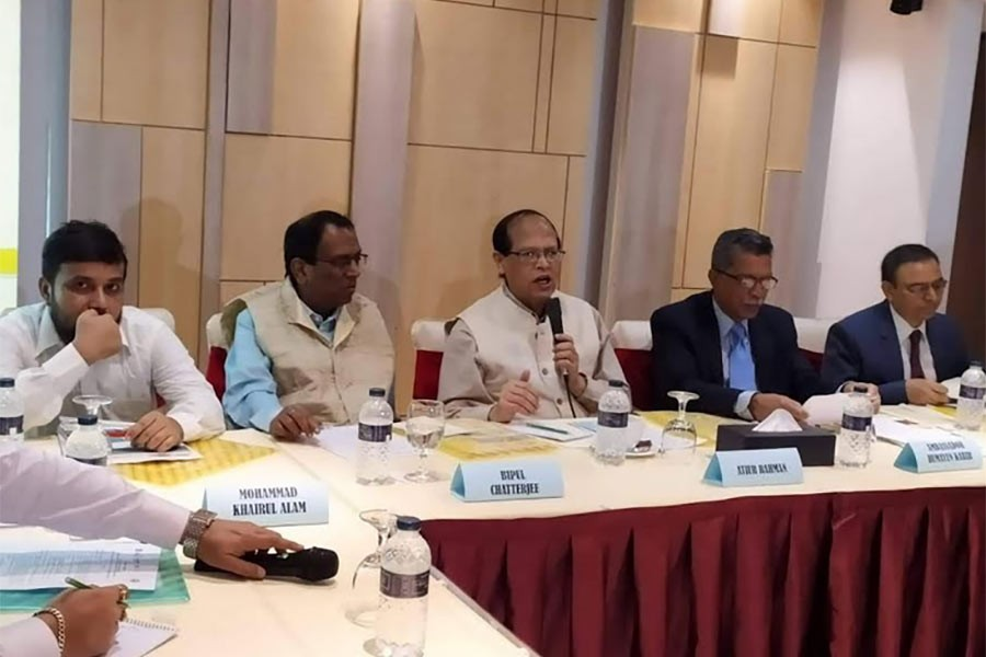 "Chairman of  Unnayan Shamannay Dr Atiur Rahman speaking at a programme titled ""Connectivity and Trade Facilitation in the BBIN Sub-region of the Indo-Pacific"" at a hotel in the city on Wednesday."