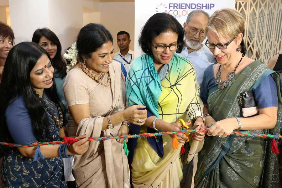 BGMEA President Dr Rubana Huq inaugurating the first outlet of Friendship Colours of the Chars at Banani Road no 12 on Thursday
