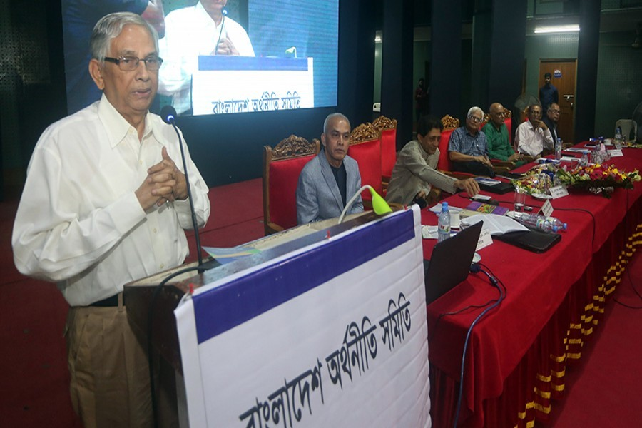Former Bangladesh Bank governor Dr Mohammed Farashuddin speaking as the chief guest at a national seminar on Income and Wealth Inequality organised by Bangladesh Economic Association (BEA) in the city on Saturday — FE photo