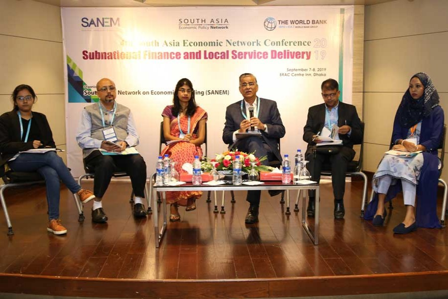 Speakers at the concluding ceremony of the 4th South Asia Economic Network Conference, held in the capital on Sunday.