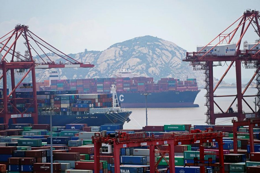 Containers are seen at the Yangshan Deep Water Port in Shanghai, China, August 6, 2019. Reuters
