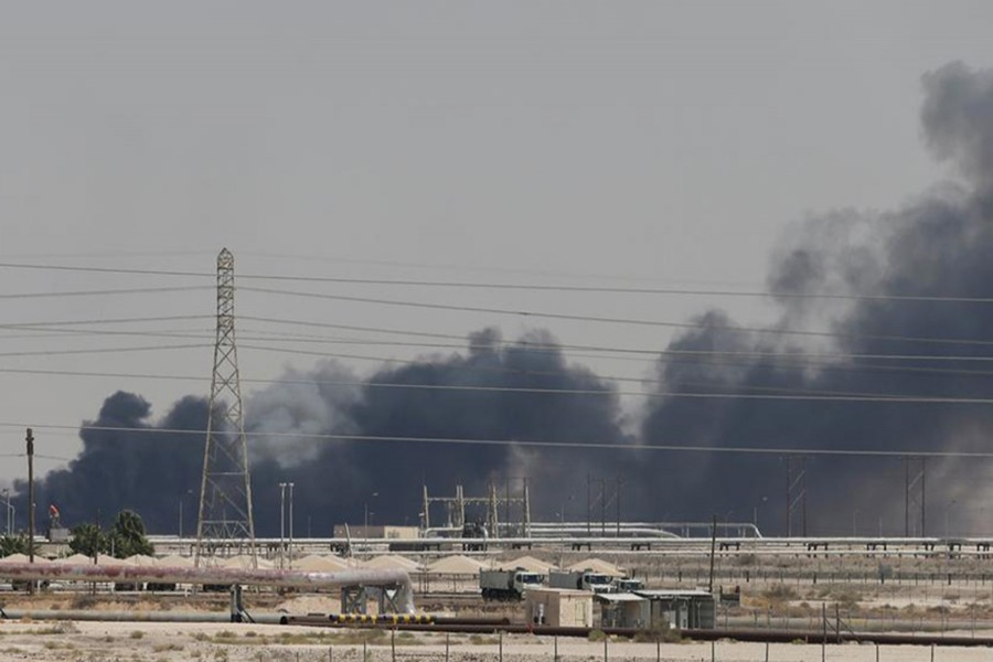 Smoke is seen following a fire at Aramco facility in the eastern city of Abqaiq, Saudi Arabia on September 14, 2019 — Reuters photo