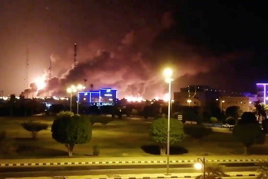 A fire rages at an Aramco factory in Abqaiq, Saudi Arabia on September 14, in this picture obtained from social media — via REUTERS