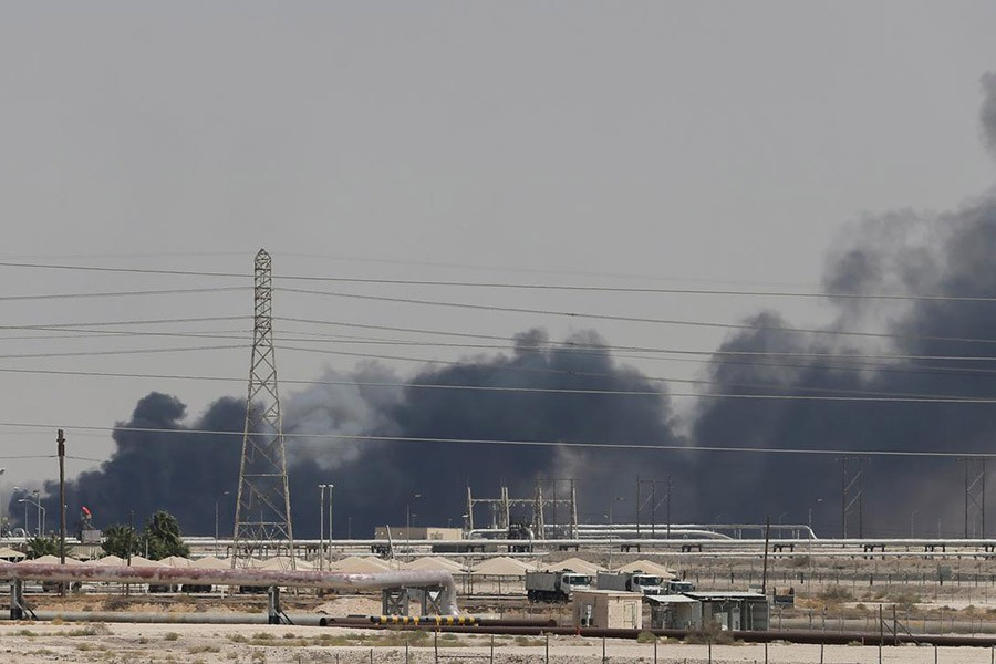 Smoke is seen following a fire at Aramco facility in the eastern city of Abqaiq, Saudi Arabia on Saturday. -Reuters photo