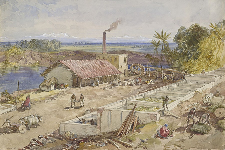 An artist's impression shows an indigo factory in Bengal, 1863. Photo courtesy: Wikimedia Commons