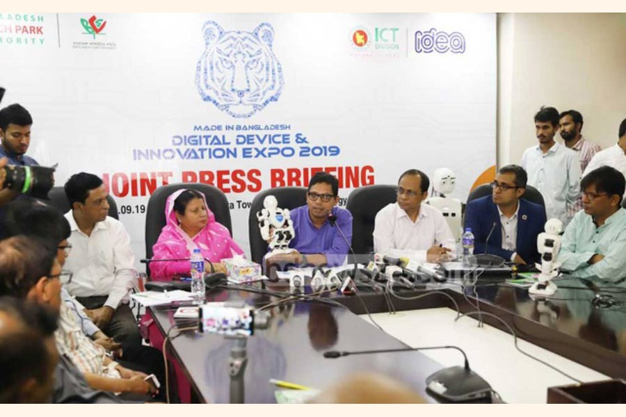 """THE GOVERNMENT IS SET TO LAUNCH A PROJECT TO FUND THE ICT ENTREPRENEURS AIMING TO DEVELOP INNOVATIVE POTENTIALS OF YOUNG PEOPLE IN THE SECTOR: """"Under the project to be called 'Bangabandhu Innovation Grant', each entrepreneur in hardware and R&D sector will receive the fund from Tk 1.0 million to Tk 50 million,"""" said State Minister for ICT Zunaid Ahmed Palak while briefing the media on a three-day Digital Device and Innovation Expo in Dhaka on September 13, 2019.   — Photo: bdnews24.com"""