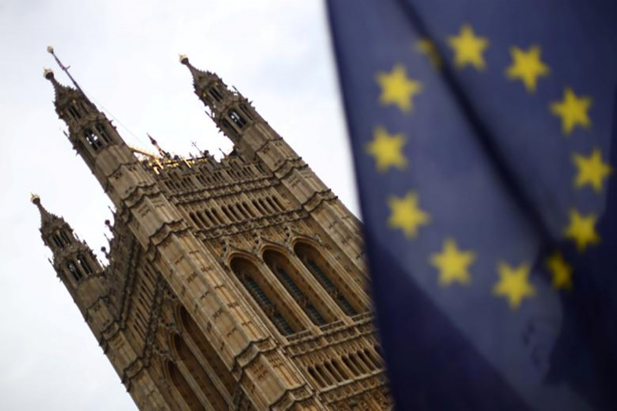 A flag of the European Union is pictured outside the Houses of Parliament in London, Britain on July 25, 2019 — Reuters/Files