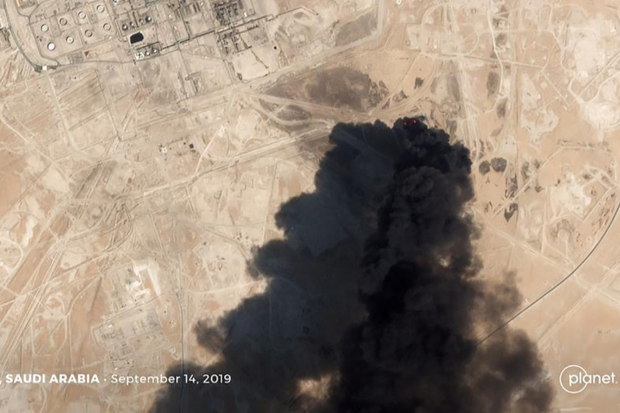 A satellite image shows an apparent drone strike on an Aramco oil facility in Abqaiq, Saudi Arabia on September 14, 2019 — Planet Labs Inc/Handout via REUTERS