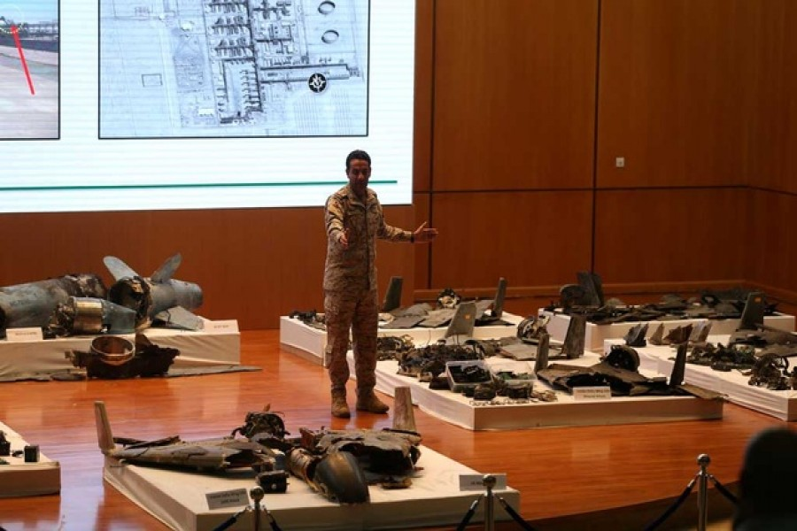 Saudi defence ministry spokesman Colonel Turki Al-Malik displays remains of the missiles which Saudi government says were used to attack an Aramco oil facility, during a news conference in Riyadh, Saudi Arabia September 18, 2019. Reuters