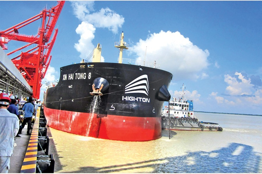 A vessel carrying the first consignment of coal for the 1320MW Payra Thermal Power Plant docked at the plant terminal in Patuakhali on Thursday — Focus Bangla