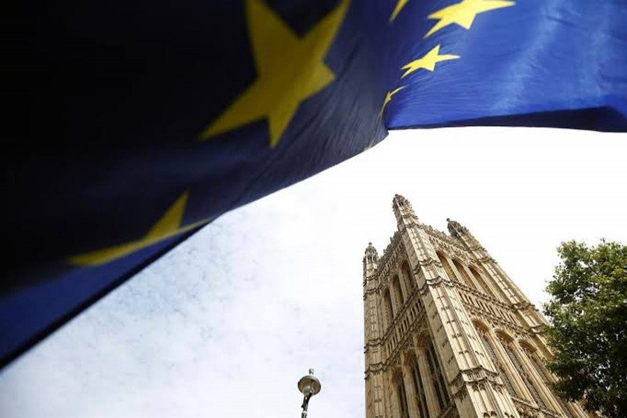 A flag of the European Union is pictured outside the Houses of the Parliament in London, Britain, August 28, 2019. Reuters