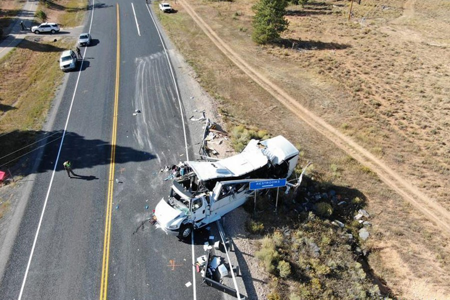Photo provided by Utah Highway Patrol on Sept 20, 2019 shows the bus crash scene near the Bryce Canyon National Park in Utah, the United States