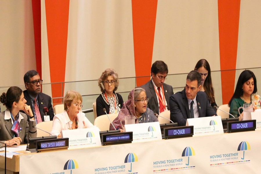 Prime Minister Sheikh Hasina speaks at the programme at ECOSOC Chamber of the UN Headquarters in New York on Monday (local time). Photo: PID