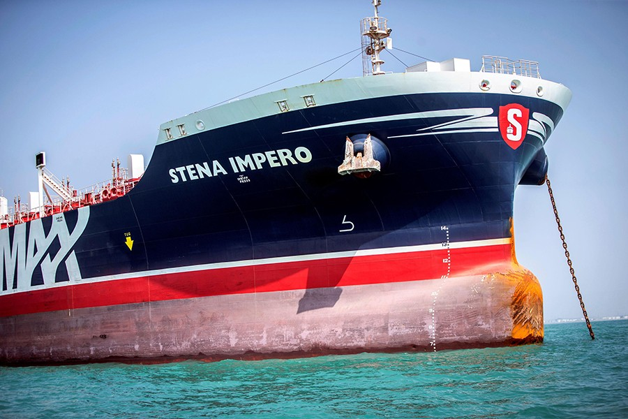 Stena Impero, a British-flagged vessel owned by Stena Bulk, is seen at undisclosed place off the coast of Bandar Abbas, Iran on August 22, 2019 — WANA (West Asia News Agency) via REUTERS./Files