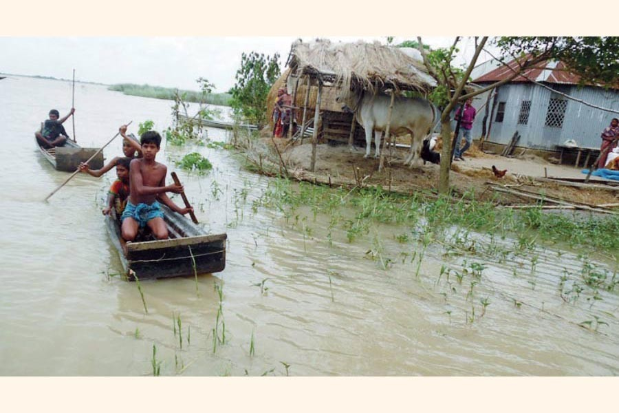 An erosion-affected village under Bagha upazila in Rajshahi district    — FE Photo
