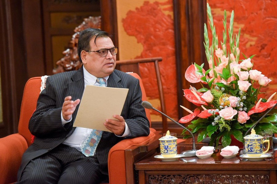 FILE PHOTO: Deputy Prime Minister of Nepal Krishna Bahadur Mahara speaks during his meeting with Chinese Premier Li Keqiang (not pictured) at Zhongnanhai Leadership Compound in Beijing, China September 7, 2017. REUTERS/Etienne Oliveau/Pool