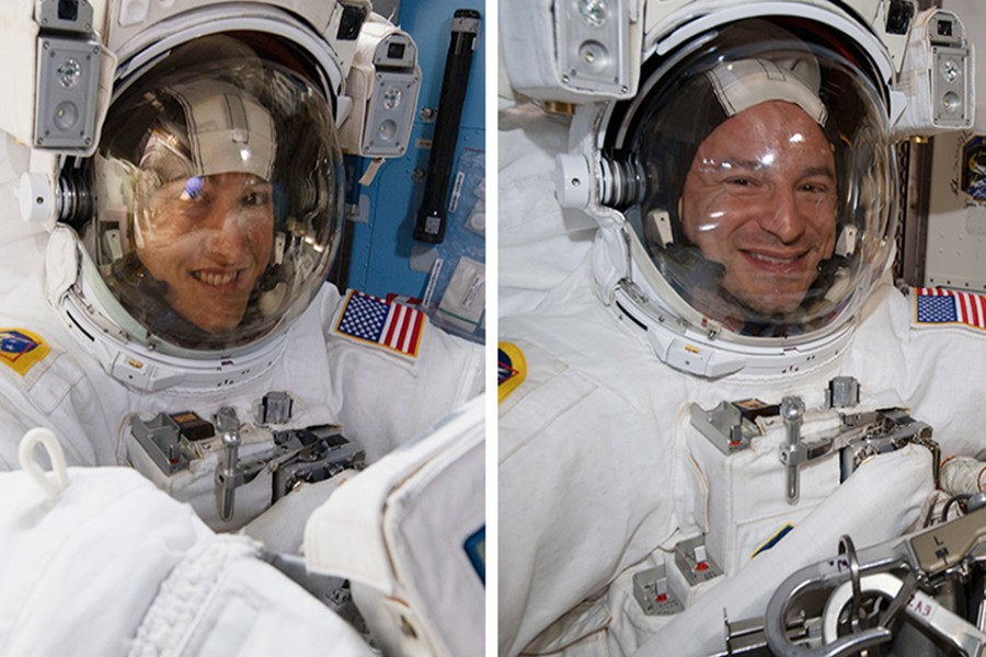 Astronauts Christina Koch and Andrew Morgan are pictured in their US spacesuits during another spacewalk earlier this year — NASA photo