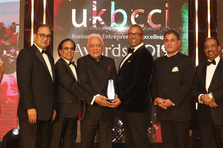 "Mr Syed Manzur Elahi, chairman of the Apex Group, receiving the ""Lifetime Achievement Award"" at the UK Bangladesh Catalysts of Commerce & Industry (UKBCCI) awards held in central London this evening local time"
