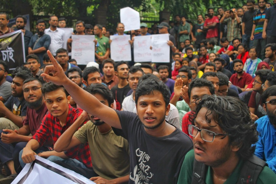 Students of Bangladesh University of Engineering and Technology staging demonstrations on the campus on Tuesday morning. Photo: Abu Sufian Jewel/UNB