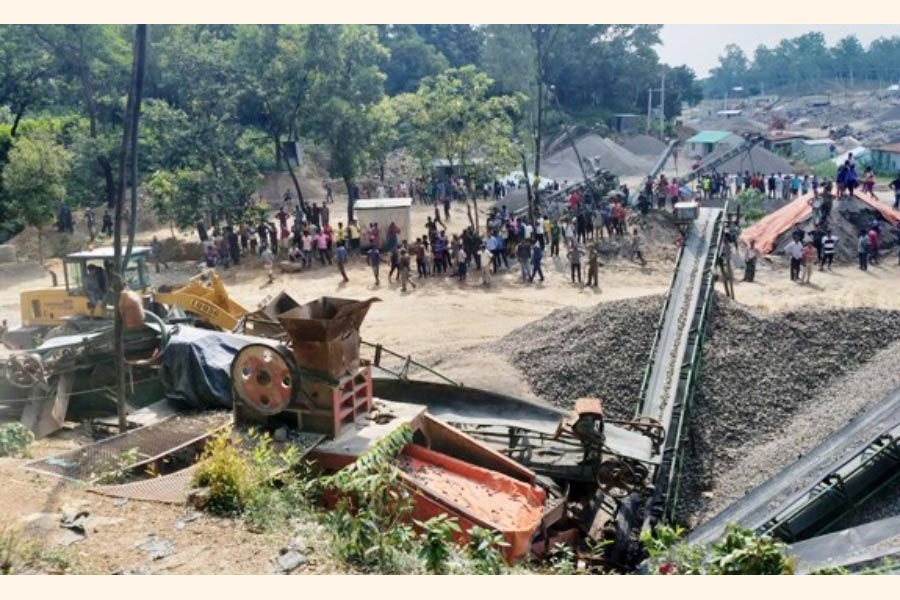 Over 50 stone crushers, set on the land of Forest Department under Gowainghat upazila of Sylhet district, were evicted on Saturday   	— FE Photo