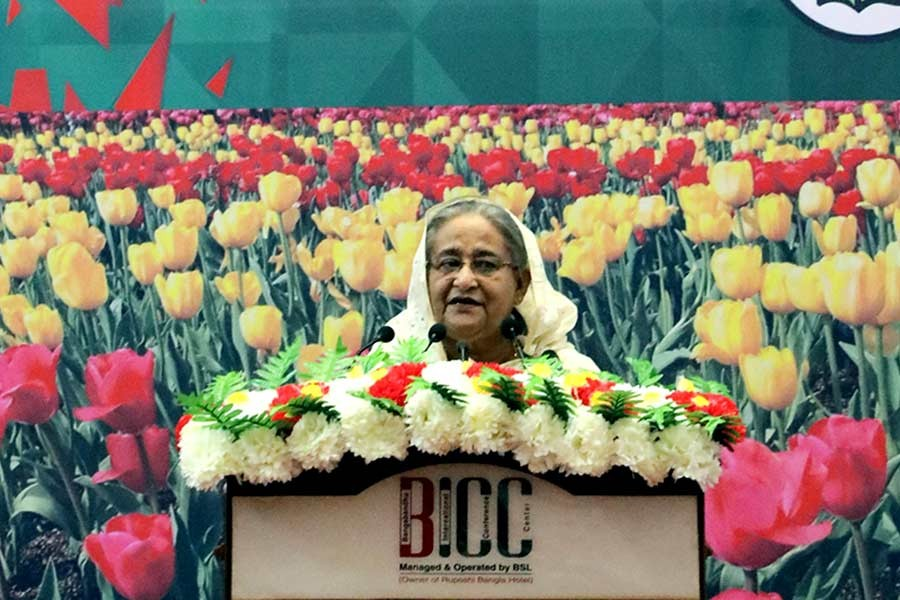 Prime Minister Sheikh Hasina addressing a function marking the birthday of Sheikh Russell, youngest son of Father of the Nation Bangabandhu Sheikh Mujibur Rahman, on Friday. -Focus Bangla Photo
