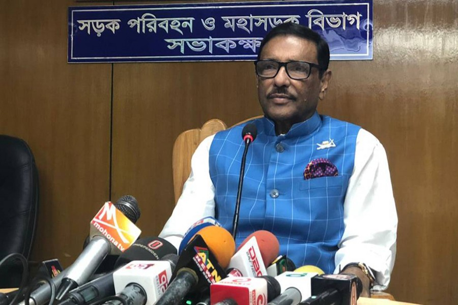 Awami League General Secretary Obaidul Quader speaks to reporters at the Secretariat on Sunday, Oct 20, 2019 — UNB photo