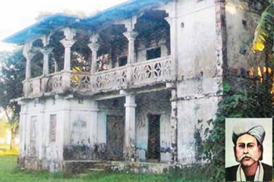 The ancestral home of Hason Raja (inset) at Rampasha village under Biswanath upazila of Sylhet district   — FE Photo