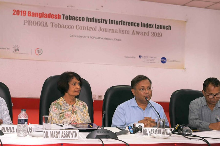 Information Minister Dr Hasan Mahmud addressing a meeting of anti-tobacco alliance at an auditorium of Centre on Integrated Rural Development for Asia and the Pacific (CIRDUP) in the capital on Wednesday. -PID Photo