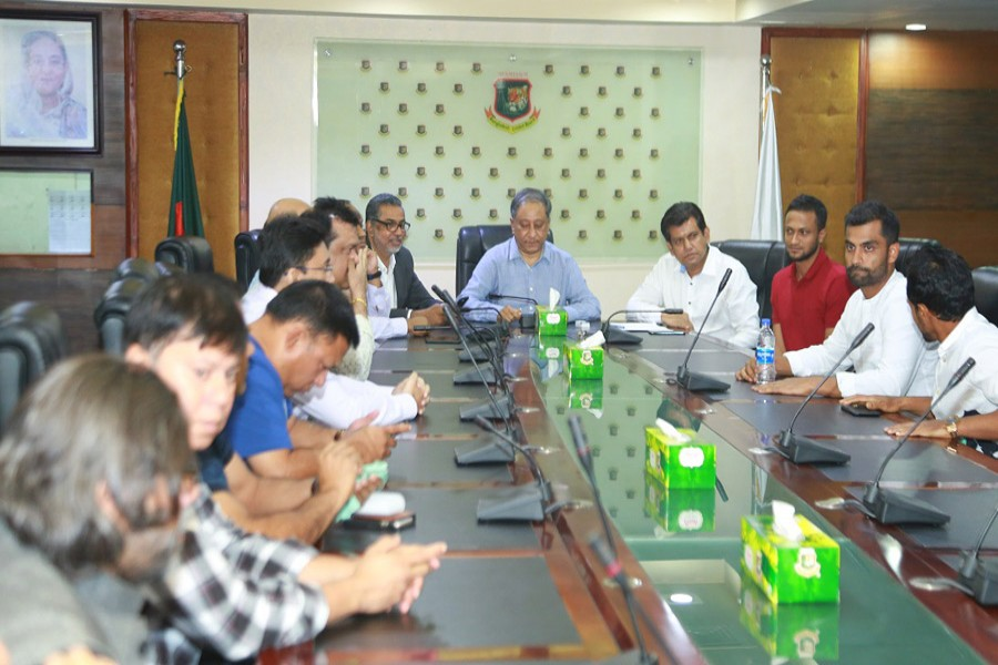 Striking cricketers sit in a meeting with Bangladesh Cricket Board (BCB) on Wednesday