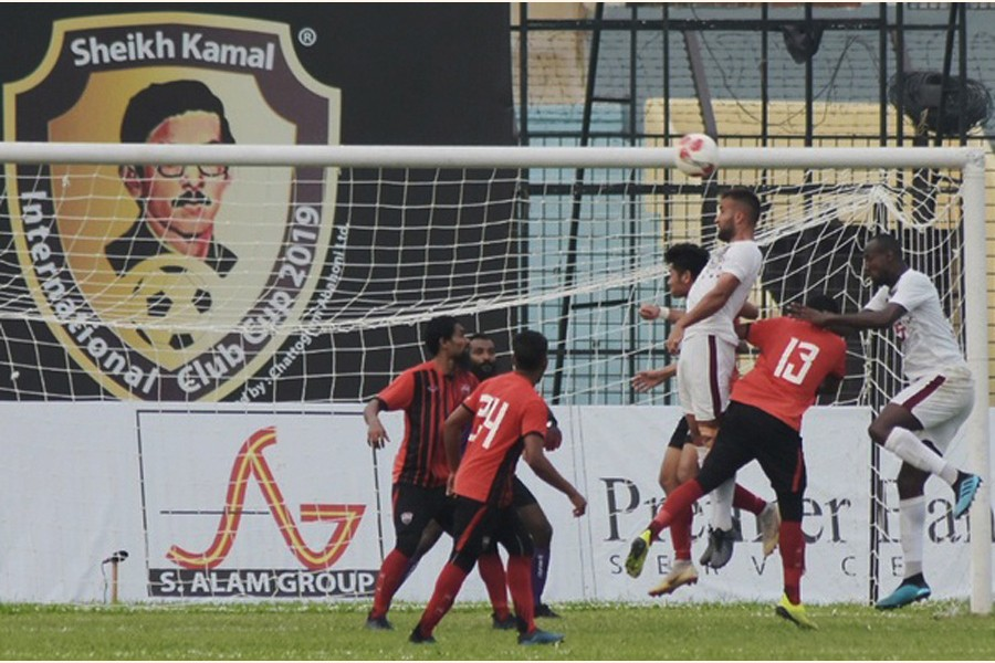 Players of Young Elephants Football Club and TC Sports Club fighting for ball at the third edition Sheikh Kamal International Club Cup Football Tournament at the MA Aziz Stadium in Chattogram on Friday 	— bdnews24.com