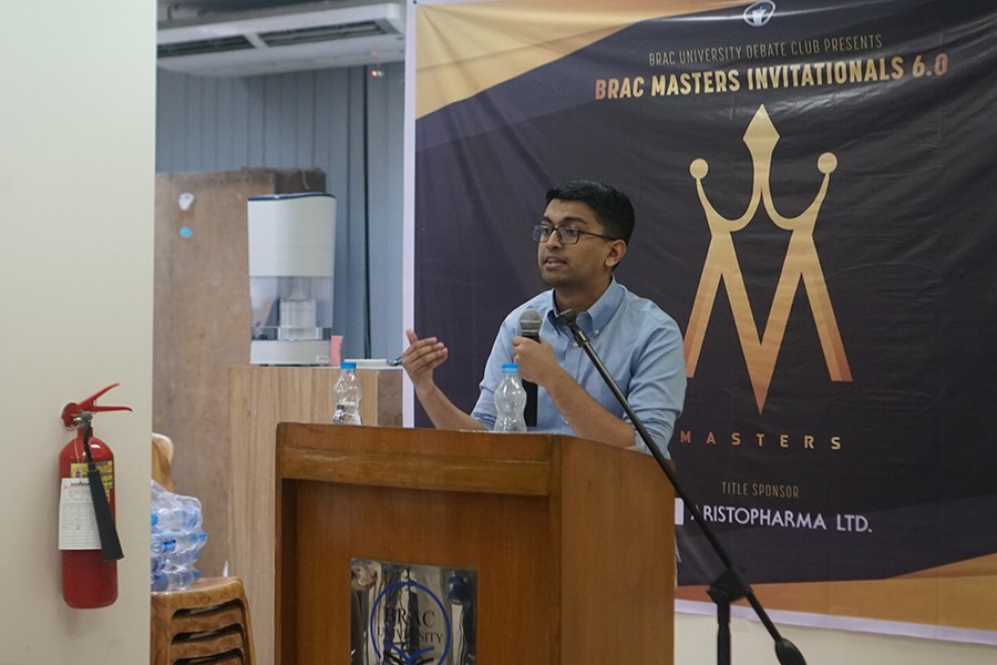 One of the finalists, Sajid Asbat Khandaker delivering his speech at the grand finale of BRAC Masters Invitational 2019