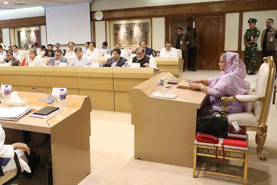 Prime Minister Sheikh Hasina presiding over the weekly meeting of the Cabinet at the Prime Minister's Office in Dhaka on Monday. -Focus Bangla Photo