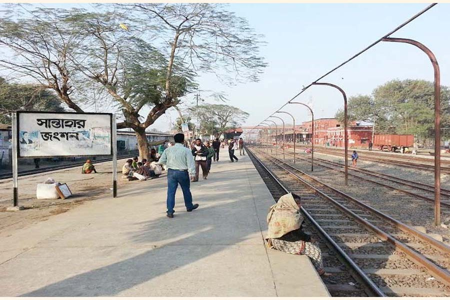 The photo shows the open platform of the Santahar railway station   	—  FE Photo