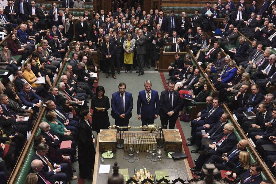 British Members of Parliament vote in favour of the Creasy amendment to the Election Bill, in the House of Commons, London, Tuesday, October 29, 2019 — UK Parliament via AP