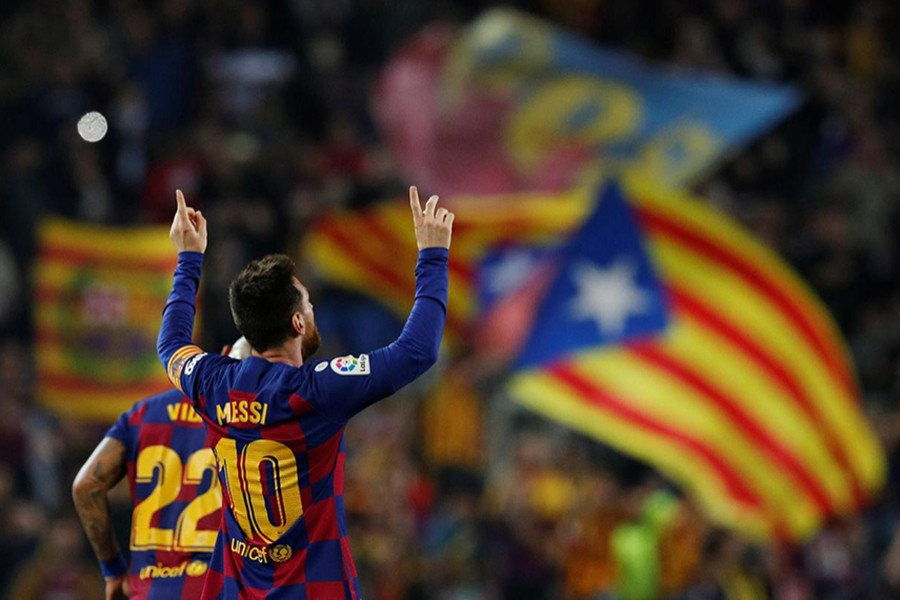 Barcelona's Lionel Messi celebrates scoring their third goal against Real Valladolid — Reuters photo
