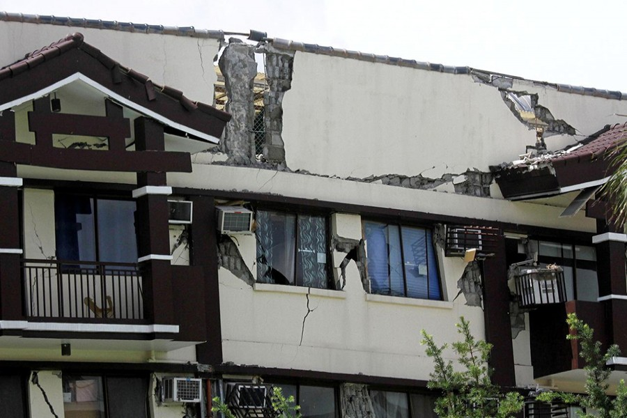 A condominium building is seen after sustaining heavy damage from a 6.5 magnitude earthquake in Davao City, Mindanao, Philippines on October 31, 2019 — Reuters photo