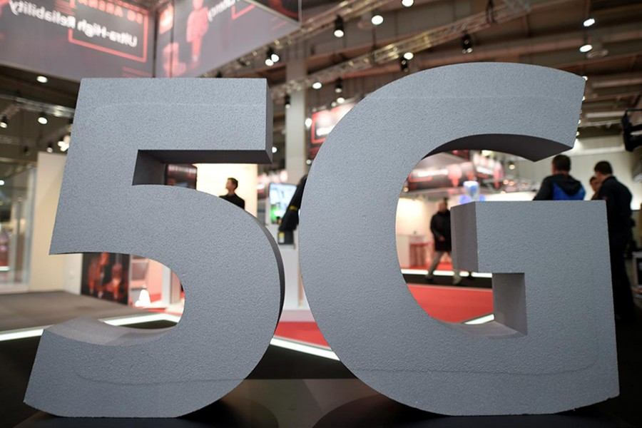 A logo of mobile standard 5G is pictured at the Hanover trade fair, in Hanover, Germany on March 31, 2019 — Reuters/Files